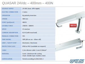 Quasar 24vdc 400mm 400N
