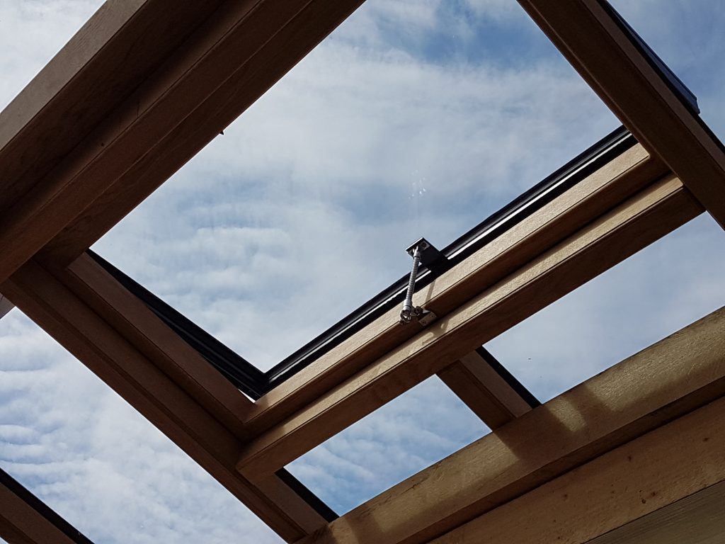 Chrome Screwjack on Timber Frame Conservatory