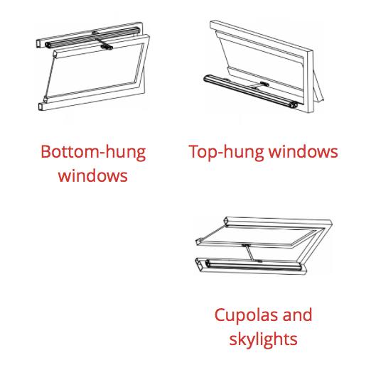 Product Applications: Bottom hung, Top hung, Cupolas, Skylights